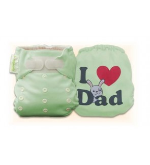 Natural Green I Love Dad Diaper Cover Only