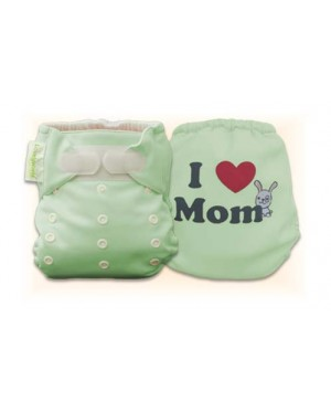 Natural Green I Love Mom Diaper Cover Only