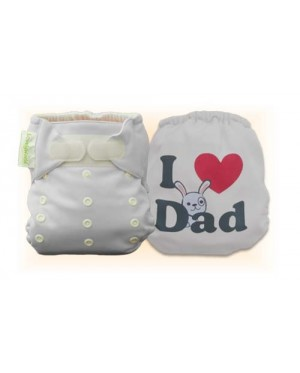 Milky White I Love Dad Diaper Cover Only