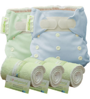 2 Plain Diaper and 3 Overnight Inserts (Any Colours)